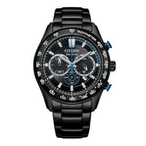 orologio citizen eco drive acciaio nero chrono quadrante nero blu