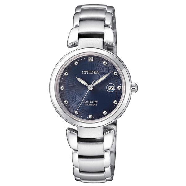 orologio donna titanio quadrante blu citizen