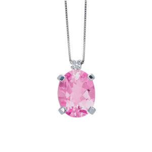 collana bibigì topazio rosa ovale diamante