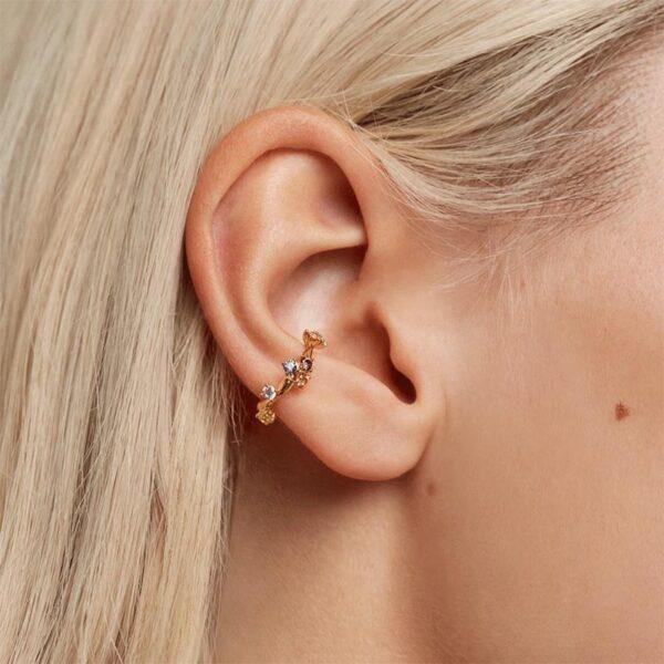 orecchini ear cuff per buco in argento e cristalli colorati PDPaola