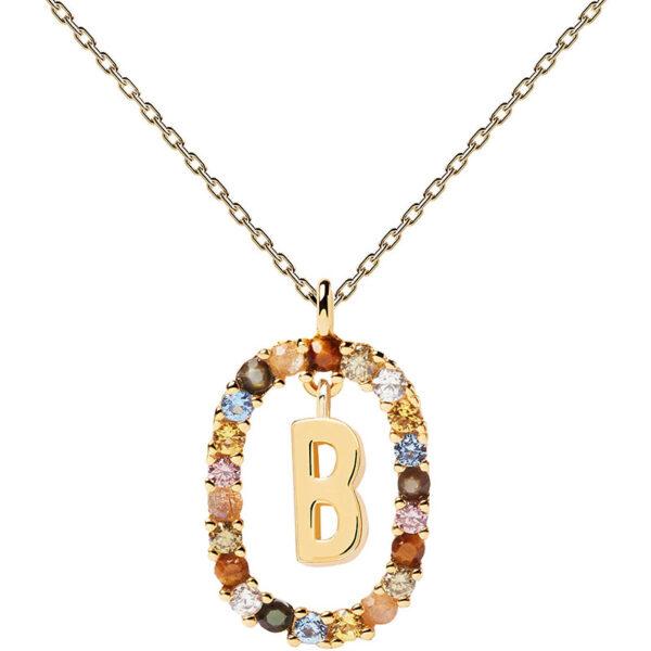collana iniziale b argento dorato PDPaola Chiara ferragni