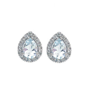 orecchini bibigì bibigi oro bianco diamanti acquamarina azzurra goccia