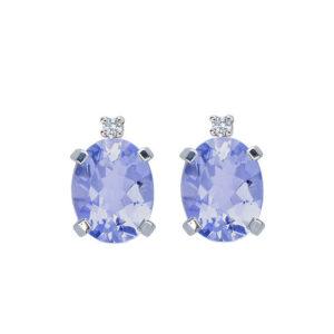 orecchini tanzanite blu viola ovale diamante oro bianco bibigì
