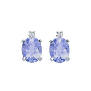 orecchini tanzanite blu viola ovale diamante oro bianco bibigì piccoli