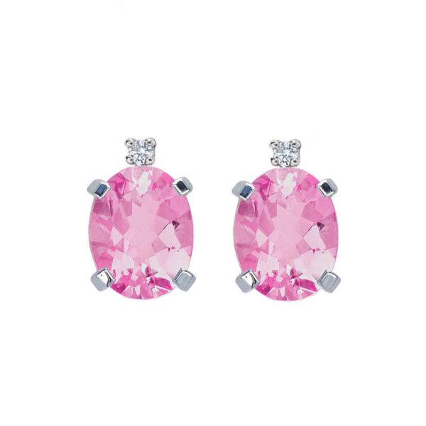orecchini bibigì topazio rosa ovale diamante