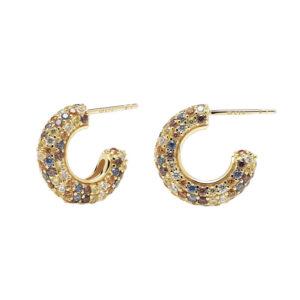 orecchini anelle pdpaola five oro pietre colorate pavè tiger