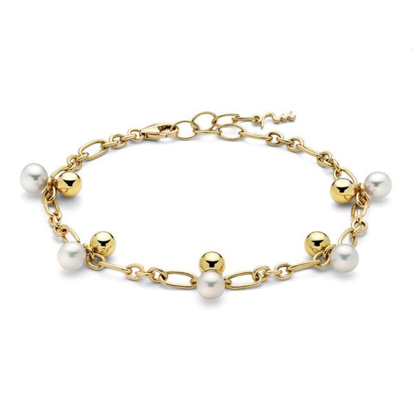 bracciale donna argento dorato e perle miluna