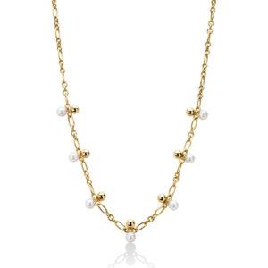 Collana donna in argento dorato con perle bianche miluna