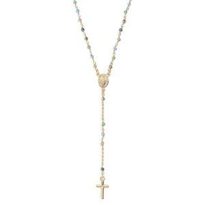 collana rosario oro giallo colorato amen
