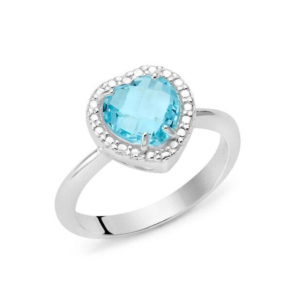 anello argento donna miluna gemma del cielo cuore