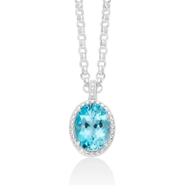 collana donna argento gemma del cielo azzurra miluna