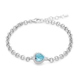 bracciale donna argento miluna gemma del cielo cuore